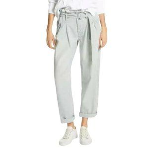 Paperbag Jeans Striped High Waist Baggy Belted